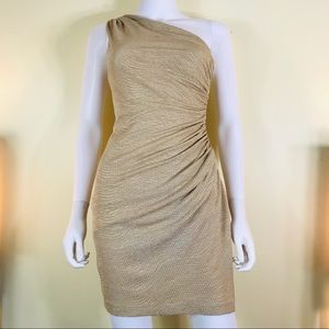 Maggy London Gold Shimmer Bodycon one strap Dress